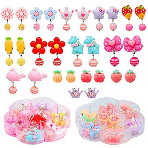 Orecchini clip bambina, comius 14 paia orecchini clip bambina orecchini in resina fiore carino regalo di compleanno per ragazze (b)