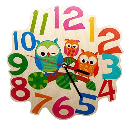 Kinderwanduhr 30001 - Eulen aus Holz, ca. 21 cm