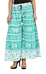 Soundarya Womens Cotton Palazzo (Green, 40)