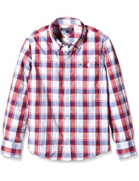 TOMMY HILFIGER KIDS DG Ramone Structure Check Shirt L/S, Camisa para Niños, Azul, 16