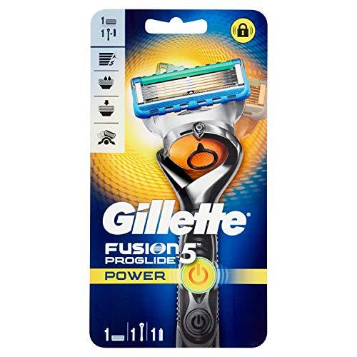 Gillette Fusion ProGlide Manual Herren Rasierer mit FlexBall Technologie, Schwarz Proglide Power silber/schwarz