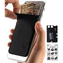 Gecko–Funda para teléfono Cartera y bloqueo RFID, un adhesivo elástico lycra tarjeta soporte universal compatible con la mayoría de teléfonos móviles y casos. Xtra Tall bolsillo cubre totalmente tarjetas de crédito y efectivo negro Black-Black