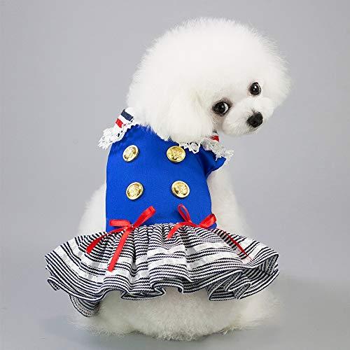 Kostüm Nette Mädchen Marine - Gestreifte nette Marine-Klage-Haustier-Kleidung-Frühlings-Sommer-Kurzschluss-Hülsen-Verschluss-Entwurf zwei Bein-Abnutzung for reizende Haustier-Versorgungsmaterialien des Teddybären Bichon kleinen Hu