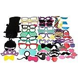 Tinksky Pedazo de foto Booth Props 58 Kit de bricolaje para boda fiesta reuniones cumpleaños Photobooth vestir accesorios y cotillón, disfraces con bigote en un palo, sombreros, gafas, boca, jugador de bolos, pajaritas