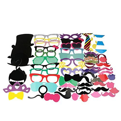 Tinksky Pedazo de foto Booth Props 58 Kit de bricolaje para boda fiesta reuniones cumpleaños Photobooth vestir accesorios y cotillón, disfraces con bigote en un palo, sombreros, gafas, boca, jugador de bolos,