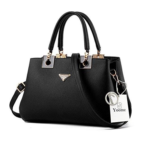 Yoome borse grandi borse per le donne Top Tote Handle Borse eleganti Borse donna con cinghie - Viola Nero