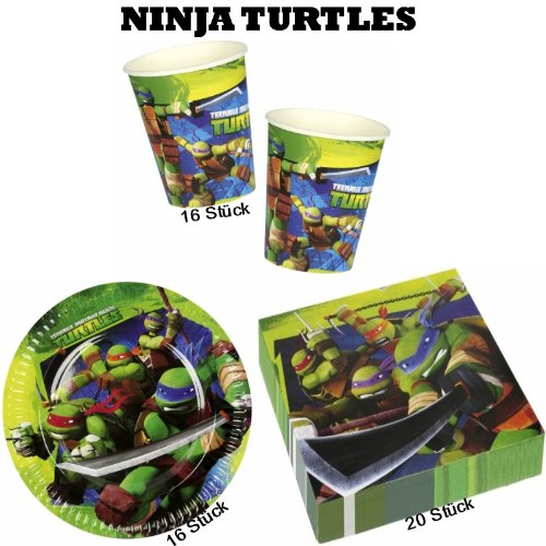 (Mutant Ninja Turtles Partyset 16 Teller + 16 Becher + 20 Servietten)
