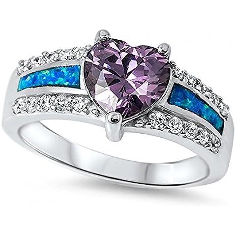 Argento a forma di cuore anello con gemma opale Lab