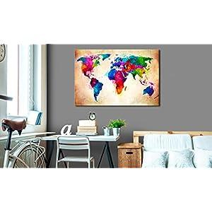 murando Cuadro en Lienzo 60×40 1 Parte Impresión en Material Tejido no Tejido Impresión Artística Imagen Gráfica Decoracion de Pared – Mapa del Mundo Mundo Continente k-C-0038-b-a