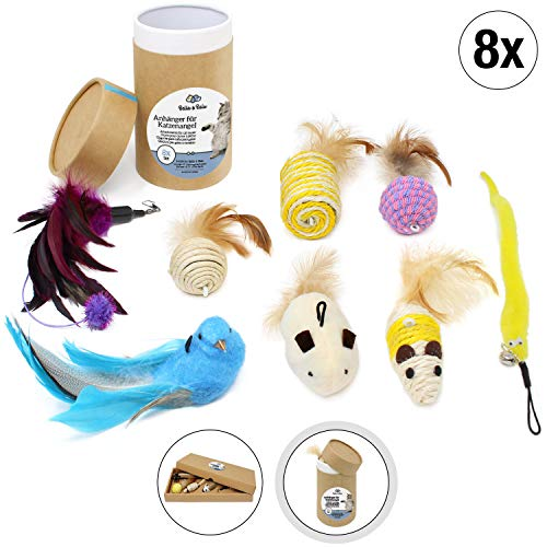 ug Anhänger für Katzen (8 Stück) - Zusätzliche Spielzeuganhänger für die Katzenangel für Spaß, Auslastung und Abwechslung im Katzenalltag ()