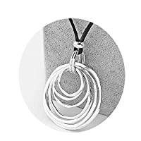 Carr Coverdale Pendants 1Pcs Necklace Boho Bohemia Multi-Circle Lagenlook Pendant Black Long Faux Velet Suede Cord Sweater Necklace Jewelry