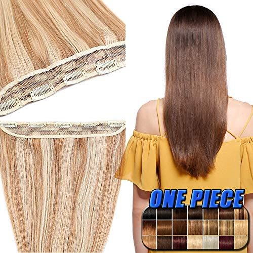 Echthaar Extensions Clip in günstig Haarverlängerung 1 Tessse 5 Clips Haarteile Echthaar Remy Human Hair 40cm-45g(#12/613 Hellbraun/Hell-Lichtblond)