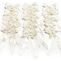 WINOMO 25pcs coccarde bianco nastro raso matrimonio decorazioni nastro archi decorazioni di nozze bowknots per automobili sedie