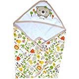 DOREME New Born Baby High Quality Extra Soft to Baby Delicate Skin Cartoon Print Hooded Housiry Chaddar Cum Odddna Wrapping/Wrapper Sheet Single Layer Baby Sleeping Bag Baby Cotton Sheet (Brown)