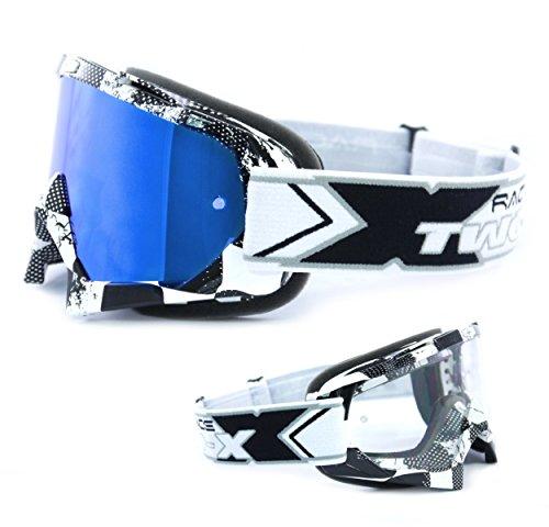 TWO-X Race Crossbrille Factory schwarz Weiss Glas verspiegelt blau MX Brille Motocross Enduro Spiegelglas Motorradbrille Anti Scratch MX Schutzbrille