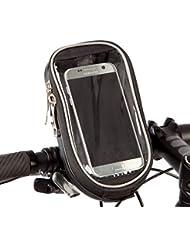 Bolsa de manillar BTR con funda dura y soporte de móvil – Pantalla transparente de PVC – Impermeable – Negra