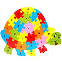sycamorie Wooden Alphabet Animal Puzzle - Numbers English 26 Letters Learning Educational Puzzle Toy for kids