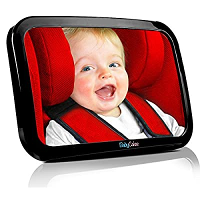 Baby Car Mirror - Back Seat Rear View - Fully Adjustable to Fit Any Headrest - 360 Tilt & Turn Function - Wide Convex Shatterproof Glass and Fully Assembled - Crash Tested and Certified for Safety by BabyCakes produced by Babycakes - quick delivery from U