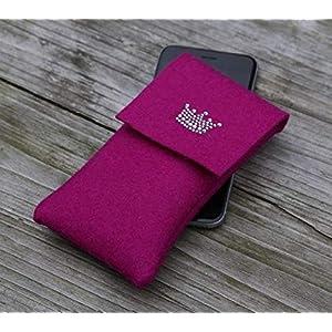 zigbaxx Handyhülle Filz Handytasche für iPhone 8 7 6 X Xs, iPhone 8 plus 7 6 Xs Max XR Hülle Little Crown handmade Wollfilz Krone Strass Geschenk Frauen Mama Weihnachten pink schwarz beige grau braun
