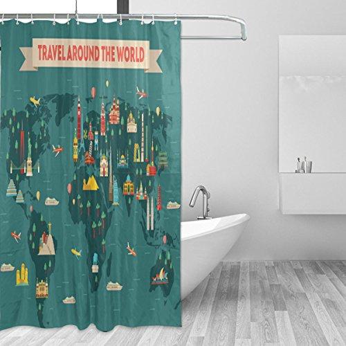 jstel World Travel Map Duschvorhang Schimmelresistent und Polyester-Wasserdicht-182,9x 182,9cm für Home Extra Lang Badezimmer Deko Dusche Bad Vorhänge Liner mit 12Haken