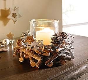 deko windlicht holzkranz 2tlg kranz aus astst cken mit tannenzapfen sternen aus baumrinde. Black Bedroom Furniture Sets. Home Design Ideas