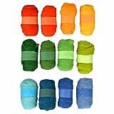 Filzwolle Mega Set 12er Set gelb/grün / blau zum Nassfilzen, Trockenfilzen uvm