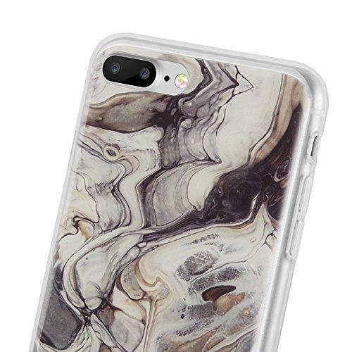 iPhone 8 Plus, iPhone 7 Plus Marmor Hülle | JAMMYLIZARD Marble Case aus Silikon Ultra Slim Backcover Handyhülle, Blau SCHWARZ