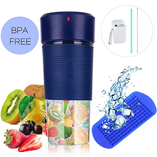 Tragbarer Mixer mit wiederaufladbarem USB/Mini-Fruchtmixer mit 350 ml BPA-freiem Entsafter-Becher/persönlicher Mixer mit 1 Klinge für Saft, Smoothie und Milchshake (Pink)