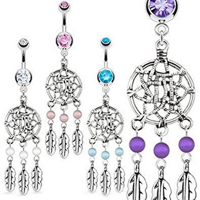 aqua-crystal-dream-catcher-net-et-triple-bead-plumes-belly-bar-piercing-epaisseur-16mm-longueur-10mm
