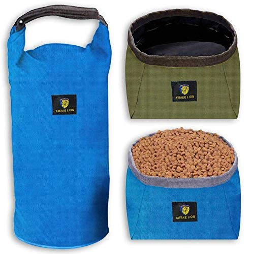 Collapsible Dog Bowl Kit, Awakelion Portable Travel Dog Food Carrier +2 Pack Dog Bowl For Food And Water -Perfect for Medium & Large Dog