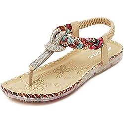 Zicac mujer de Nueva Bohemia estilo romano Bead Folk estilo redondo Peep Toe Verano Playa Dunlop Toe Post sandalias chanclas Flat Anti Skid zapatillas Thongs, color negro, talla 35.5