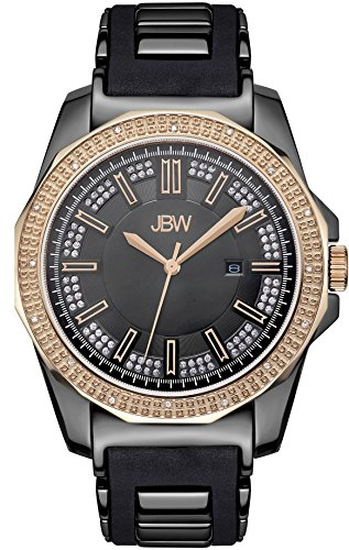JBW MEN'S REGAL DIAMOND 48MM SILICONE BAND STEEL CASE QUARTZ WATCH J6332D
