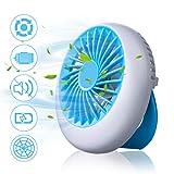 NASUM USB Ventilator, mini Tischventilator 1200 mAh, leise Lüfter Handventilator tragbar, 3 Geschwindigkeiten aufladbarer Batterie Akku Beweglicher, für Büro, Schule, Reisen, Indoor und Outdoor-Blau