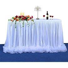 【Versión de actualización】Falda de mesa Falda de tul de mesa Tul de tutú largo Elegante falda de mesa de tela para mesa redonda y de rectángulo, ...