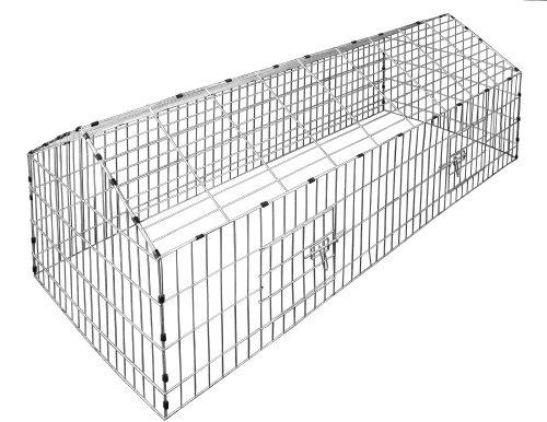Kaninchenstall Hasenkäfig Hasengehege Hasenstall Sonnenschutz Käfig Freilauf Gehege Metall - 3