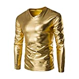 IMJONO Herren T-Shirts Mens Metallic Shiny Wet Look Long Sleeve T-Shirt Top Slim Fit V Neck Blouse(XX-Large,Gold)