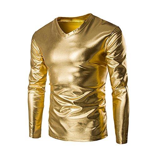 Cebbay Disfraces Ropa Camisa Manga Larga Hombre Camiseta Cuello en V Brillante Metalizado Liquidación (EU Size M = Tag L, Oro)