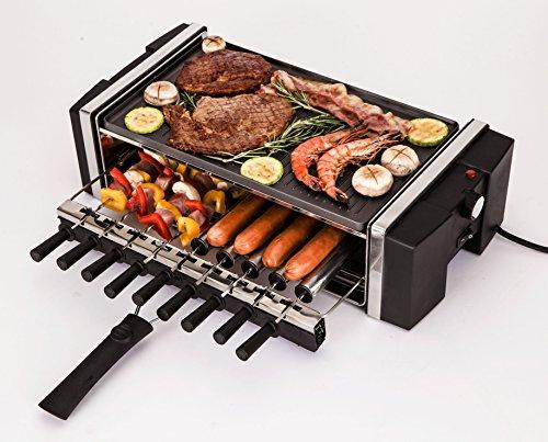 R.g.v. new grillo special barbecue da tavola con 9 spiedini autorotanti 1200 w