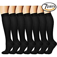 7 Paar Knie Hohe Abgestufte Kompression Socken für Damen und Herren (7 Black, L/XL) preisvergleich bei billige-tabletten.eu