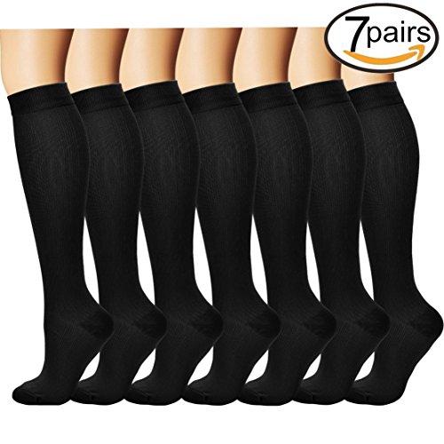 3/7 Pares Rodilla Alta Calcetines de compresión graduada para Mujeres y Hombres (7 pairs(Assort 3), L/XL)
