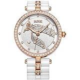 BUREI Elegante Damen Armbanduhr fürs Kleid mit Diamantkristall Gehäuse und Keramikarmband (Weiß)