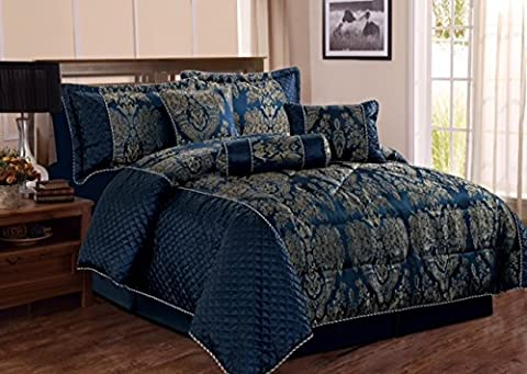 Quilted Bedspread Modern 7 Pieces Jacquard Luxury Comforter Bedding Set (King, Amazon Blue)