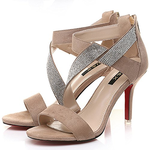 Oasap Women's Open Toe Rhinestone High Heels Sandals Beige
