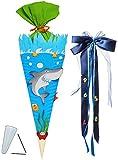 BASTELSET Schultüte -  Hai Fisch & Unterwasser Welt  - 85 cm - incl. großer Schleife - mit / ohne Kunststoff Spitze - Zuckertüte - Set zum selber Basteln - ..