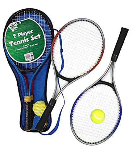 Childrens Kids Metal Junior Tennis Set 2 Racket Raquets and Ball Outdoor Toy Play Game Set