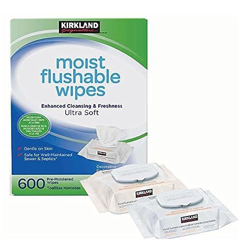Kirkland Signature 600 Pack Hypoallergenic Alcohol Free Ultra Soft Moist Flushable Wipes