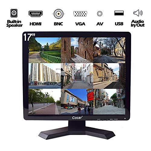 17-Zoll CCTV-Monitor, 1280x1024 Eingebauter Lautsprecher HD LCD Sicherheitsbildschirm(LED-Hintergrundlicht) mit VGA HDMI AV BNC USB-Laufwerksplayer für Heim-/ Shop-Überwachungskamera STB PC usw.