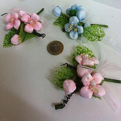 Confezione 10 fiori, bomboniera rametto fiore, segnaposto confetti. (si9050) (rosa)