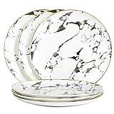 LEKOCH 6-Teilig 10 Inch Knochporzellan Telle Keramik Teller Speiset Marmor Porzellanteller mit Goldrand FIne Bone China