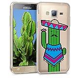 kwmobile Funda para Samsung Galaxy J3 (2016) DUOS - Carcasa Protectora de [TPU] con diseño de Cactus con Bigote en [Azul/Verde/Transparente]